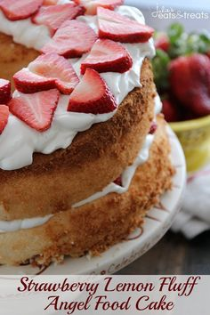 Strawberry Lemon Fluff Angel Food Cake ~ Light, Fluffy Angel Food Cake Pilled with Light & Creamy Lemon Filling and Fresh Strawberries! on MyRecipeMagic.com