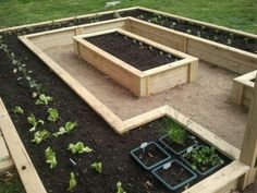 Raised bed garden. With panels on the outer border and a small gate?