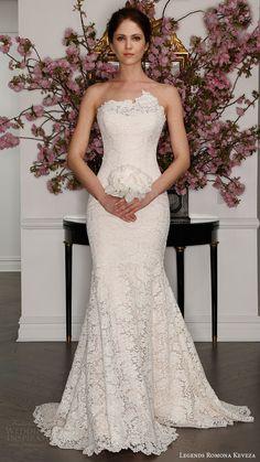 legends romona keveza bridal spring 2017 strapless asymmetric neck trumpet lace wedding dress (l7131) mv blush color