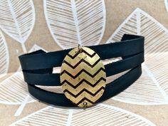 Leather Pendant Bracelet Cuff Choose Print & Color by Hollyhawk