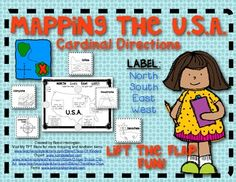 Lift the Flap Fun!! Mapping the USA: Labeling Cardinal Directions for Young Students! $