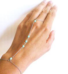 Finger Bracelet Sterling Silver Bracelet Wrist to Finger Bracelet Chain Slave Bracelet with Mint Beads