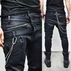 Wax Coated Double Crotch Baggy Skinny-Jeans 175