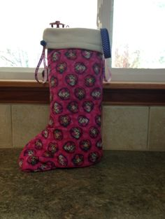 """Price: $15.00 (16"""" Tall) Frozen """"Sisters"""" Christmas stocking with bells, white fleece filling. HANDMADE BY KRIS"""