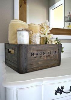5 ways to style a wooden crate bathroom vanity farm house bathroom decor, farmhouse decor Casa Hipster, Diy Casa, Diy Home, Magnolia Homes, Magnolia Farms, Home Decor Accessories, Bathroom Accessories, Wooden Boxes, Rustic Decor