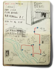 Oliver Jeffers' charming moleskine city map illustrations.