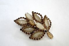 Vintage Rhinestone Brooch Marbled Art Glass Root Beer Rhinestones Pin, Wow Holiday Gift Idea by MyVtgJewelryShop on Etsy