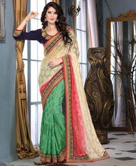 Cream & Green Color Georgette Brasso Festival & Function Sarees : Falak Collection YF-29839
