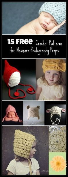 15 Free Crochet Patterns for Newborn Photography Props   windingtheskein.com  #knitting patterns #newborn