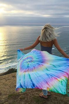 """Every Wanderlust Tie dye is hand made andone of a kind with the color ! This Tie-Dye beach blanket is the definition of """"Peace, Love, and Good Vibes. With its radical patterns you are ready to kick back and have a great time! Moda Tie Dye, Ty Dye, Tie Dye Bedding, Tie Dye Crafts, How To Tie Dye, Tie Dye Shirts, Beach Blanket, Tie Dye Blanket, Photoshop"""