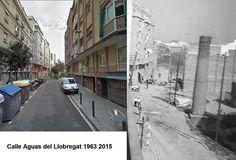 Calle Aguas del Llobregat año 1963 y 2016