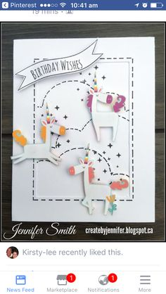 'Birthday Wishes' card by Jennifer Smith. CTMH Little Dreamer 7th Birthday Party Ideas, Kids Birthday Cards, Birthday Wishes, Scrapbook Paper Crafts, Scrapbook Cards, Cards For Friends, Friend Cards, Love Stamps, Heart Cards