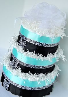 Diaper Cake - Tiffany Theme Blue & Black Damask