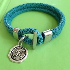Initial K Leather Bracelet by joytoyou41 on Etsy, $35.00