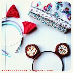 "Annaboo's house: ""The one where she Crochets things on a hairband..."" Free pattern for cat ears, bear ears, and a bow on a headband."