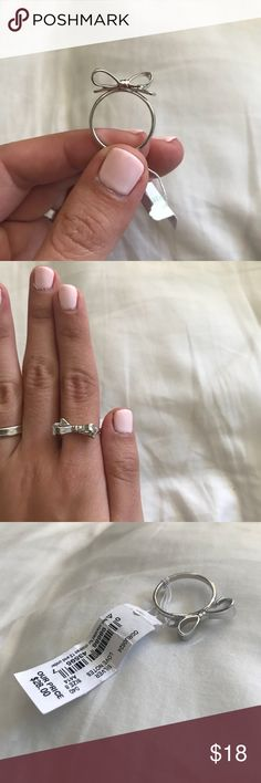 NWT Silver Bow Ring // Kate Spade Brand new with tags!! Silver Kate Spade ring with the cutest bow design 🎀 Offers welcome! kate spade Jewelry Rings