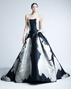Abstract-Print Jacquard Gown by Carolina Herrera