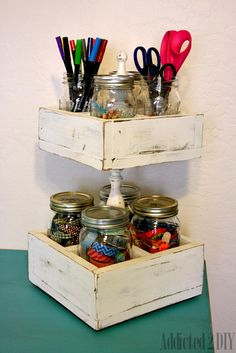 Double Decker Mason Jar Craft Caddy is part of Craft Organization Jars - A simple caddy to hold all of your craft supplies Also great for holding utensils at a BBQ or party! Mason Jar Projects, Mason Jar Crafts, Craft Room Storage, Craft Organization, Storage Ideas, Organization Ideas, Craft Rooms, Bathroom Organization, Home Crafts