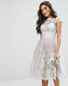 Chi Chi London Metallic Premium Lace Midi Dress