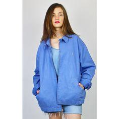 Re:dream Vintage Polo Ralph Lauren Logo Harrington Bomber Jacket ($54) ❤ liked on Polyvore featuring outerwear, jackets, blue, flight jackets, long sleeve jacket, blue jackets, vintage jackets and collar jacket