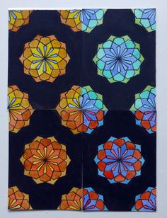ACEO componibili dipinti a mano con acquarelli. geometric composition in modular ACEO. Click the image to know more....#ACEO #geometry