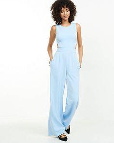 light blue open back jumpsuit