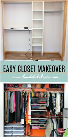 Home Decor Crafts Easy small closet makeover before and after with closet organization ideas and an Closet Redo, Bedroom Closet Design, Closet Designs, Small Closet Makeovers, Closet Ideas For Small Spaces Bedroom, Small Closet Design, Attic Closet, Boys Bedroom Decor, Wardrobe Closet