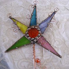 Stained glass Magic Wand Copper Art Colorful orange by Groovyglass, $34.00