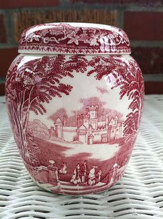 VINTAGE MASONS VISTA PINK GINGER JAR WITH LID-VERY COLLECTIBLE!