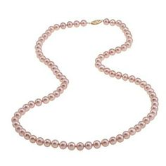 DaVonna 14k Gold Cultured Freshwater Pink Pearl Necklace (6.5-7 mm)   Overstock.com Shopping - Top Rated DaVonna Pearl Necklaces