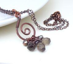 Brown copper necklace, smoky quartz necklace, copper wire wrap necklace, copper jewelry