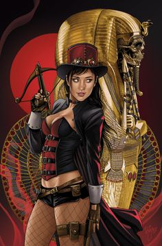 My variant cover for Zenescope Entertainment's VAN HELSING vs THE MUMMY OF AMUN RA is out today. I hope you like it! Steampunk Couture, Steampunk Fashion, Steampunk Clothing, Comic Art Girls, Comics Girls, Fantasy Female Warrior, Female Art, Fantasy Characters, Female Characters