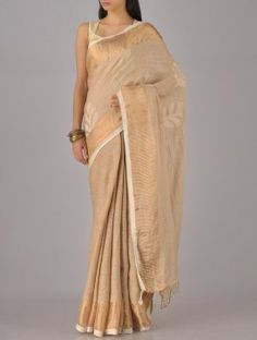Beige-Gold Silk & Satin Saree
