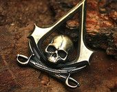 Bronze Skull & Swords Assassin Insignia Gamer 3D Pendant Necklace