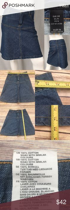 💓Sz 4 H amp M Denim A-line Knee Length Jean Skirt Measurements are ebce664ab322f