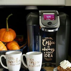 Why yes. Your coffee machine DOES deserve a makeover. @thediymommy totally gets us right now!Plus. It's totally #nationalcoffeeday so get yourself and extra cup or two! #Cricut #CricutMade #coffee #love #diy #butfirstcoffee