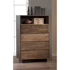 @Overstock - Array 4-drawer Chest - This lovely chest features three plain drawers, a boxy ribbed drawer and a convenient open shelf space. The chest is composed of rubberwood and veneers and finish in a fine dark home oak.  http://www.overstock.com/Home-Garden/Array-4-drawer-Chest/8585456/product.html?CID=214117 $320.99