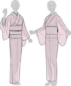 Kimono drawing guide ½, by Kaoruko Maya (tumblr, pixiv, site). Booklet is available in pdf for ¥ 900 here. Here you can see: • female kimono and yukata (note how the juban underwear peeks when in...