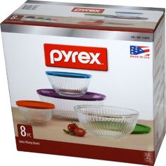 Pyrex 8 Piece Ribbed Bowl (4) Set Including Assorted Colored Locking Lids (Ribbed), 2015 Amazon Top Rated Bowls #Kitchen