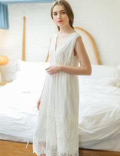 777b31ec0f Summer V-neck White Long Nightgowns Women Sleepwear Female Home Dress Lace  Princess Vintage Nightgown Women Sleeping Dress