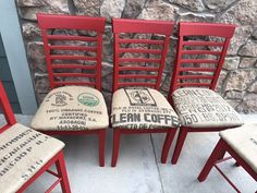 5 red chairs with coffee sack burlap Denver by 3HeartsStyleStudio