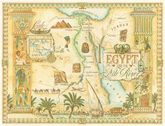 Awesome map #illustration of Egypt and the Nile River by artist Dave Stevenson