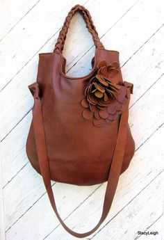 Tobacco Brown Rustic Leather Shoulder Tote Bag by Stacy Leigh via Etsy.