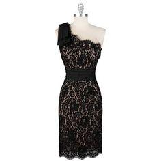 One shoulder black lace dress