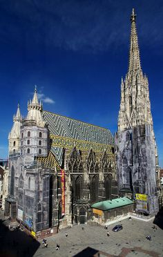 Stephansdom (St. Stephen's Cathedral) Vienna, Austria: always under renovation, but beautiful. Probably the most beautiful cathedral I've been to yet.