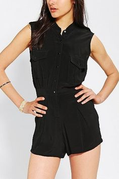 Motel Sisley Button-Down Romper in  from Urban Outfitters on shop.CatalogSpree.com, your personal digital mall.