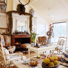 Charles Faudree...In his cabin getaway, CF replaced a stone fireplace with a Louis XVI mantlepiece and matching side cupboards
