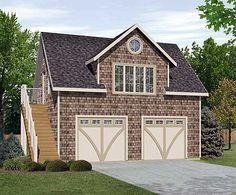 Plan W22078SL: Shingle-style Garage with Storage Above