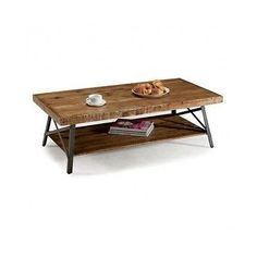 Coffee Table Wood Rustic Rectangle Metal Base Furniture Home Cocktail Unique NEW