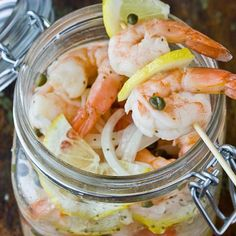 Recipe: Southern-Style Pickled Shrimp Recipes from The Kitchn. Try it with other seafood too Pickled Shrimp Recipe, Shrimp Recipes, Fish Recipes, Pickled Eggs, Pickled Celery, Haitian Food Recipes, Pickled Onions, Healthy Recipes, Donut Recipes